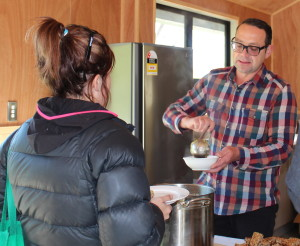 Michael van de Elzen serving up lunch in Otorohanga